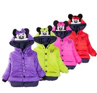Wholesale New Girls Fashion Coats Winter Long Sleeve Minnie Mouse Bowknot Kids Hooded Coat Children s Clothing Girls Christmas Outerwear Red