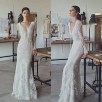 Wholesale Lihi Hod Vintage Mermaid Wedding Dresses Lace Plunging Neckline Wedding Gowns Floor Length Long Sleeves Wedding Dress