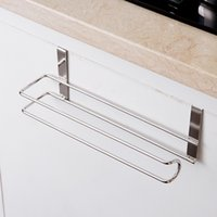 Sundries bathroom shelves cabinets - Stainless Steel Kitchen Tissue Holder Hanging Bathroom Toilet Roll Paper Holder Towel Rack Kitchen Cabinet Door Hook Holder
