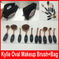 Wholesale Kylie Oval Makeup Brush Rose Gold Toothbrush shape Cosmetic Foundation BB Cream Powder Blush set brushes Tools bag DHL