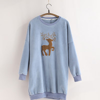 Wholesale New Year students fitted with embroidery cloth cloth deer round neck long paragraph thicker package hip sweater