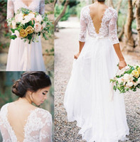 Wholesale 2017 Spring Boho Sheath Wedding Dress With Sheer Long Sleeves V Neck Backless Plus Size Floor Long Vintage Lace Western Country Bridal Gown
