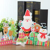 Figurines de Noël en gros-Mini Santa Claus Snowman Flocon de neige 3D Puzzle cadeaux de Noël Handmade Paper Crafts Décoration de Noël pour la table à la maison