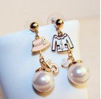 Wholesale 2017 luxury earrings cc famous brand designer jewelry number cap asymmetrical ABS pearl drop earrings dangle long dress earings