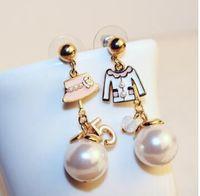 abs jewelry - Esmaltes channel earrings cc famous brand designer jewelry number cap asymmetrical ABS pearl drop earrings dangle long earings