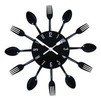 antique kitchen knives - Modern Design D Stainless Steel Kitchen Wall Watch Quartz Knife Fork Spoon Clock Creative Clock Home Decoration
