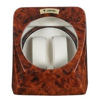 Wholesale Jebely Automatic Burlwood Double Dual Watch Winder with Cream Leather Interior JA075 WP