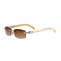 best driving glasses - Luxury Sun Glasses Brand Designer Sunglasses for Men Women White Buffalo Horn Rimless Driving Sunglasses Best Quality CT3524012