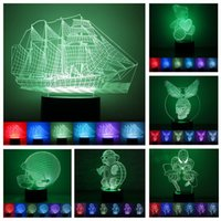 Wholesale 3D Illusion Night Light Colors Changing Table Desk Deco Led Lamp Bedroom Children Room Night Lights For Christmas Halloween Valentine Gift