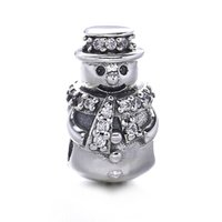Regalo de Navidad 925 de plata esterlina afortunado de Papá Noel Charms Beads se adapta a la pulsera de serpiente Mejor regalo muñeco de nieve DIY joyería de marcado