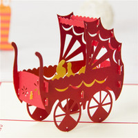 Wholesale New Baby shower Carriage Cards For Celebrate Handmade Creative D Pop UP Birthday Greeting Gift Cards Party