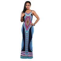 Wholesale Summer Maxi Bohemian Vestidos Sexy Casual Long Dress Sundress Backless Sleeveless Dashiki Boho Shoulder strap adjustable dress