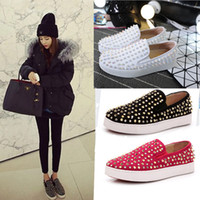 Wholesale 2017 new spring autumn Fashion punk women shoes rivets slip on loafers shoes flat platform genuine leather shoes