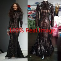 Wholesale Crystal Bling Columns - Michael Costello 2017 Long Sleeve Evening Dresses Bling Bing Black Sequins High Neck Mermaid Sexy Celebrity Gowns Pageant Prom Dresses Cheap