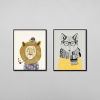 Wholesale 2 Panel Watercolor Nordic Animal Lion Bear Panda A4 Art Prints Poster Hipster Wall Picture Canvas Painting Kids Room Home Decor