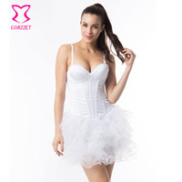 Wholesale Bridal Sexy Corset White Bustier Top Push Up Underwire Bra Corselet Overbust ett For Women Plus Size Corsets and Bustiers