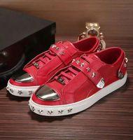 Compra Zapatos de pp-2017 Nuevo tamaño de la alta calidad del diseño 38-46 negro bajo de cuero verdadero del LOGOTIPO de los PP de los hombres Tamaño geométrico de los hombres de la marca de fábrica de la manera de lujo /
