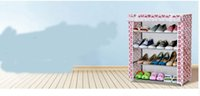 Wholesale new large capacity simple cabinet pink flower four layers of fashion storage steel frame shoe