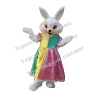 Wholesale Fancytrader Real Pictures Deluxe Cute Female Easter Bunny Mascot Costume Rabbit Mascot Costume With Fan Helmet mascot