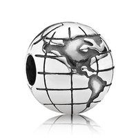 angels globe - Authentic Sterling Silver Bead Charm Vintage Globe Clip Lock Stopper Beads Fit Women Pandora Bracelet Bangle Diy Jewelry HK3296