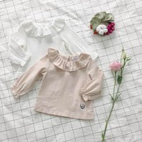 Wholesale Ins Spring New Baby Girl T shirts Peter pan Collar Long Sleeve Princess T shirts Children Clothing Y