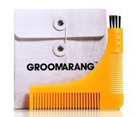 Wholesale Groomarang Beard Bro Styling Comb Shaping Template Perfect Line Comb Tool Symmetry Shape Face Neck Line with brush Shaping Template Comb