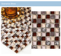 Browns / Tans bedroom floor tile - Marble stone Mixed Crystal Glass Mosaic Tiles Bath shower Bedroom kitchen fireplace Wall Floor Art Design Sticker LSMS15 B