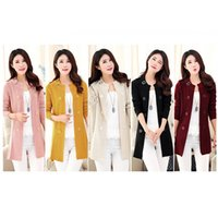 Wholesale Fashion Long Knitted Sweater Women O Neck Long Sleeve Loose Solid Oversized Outerwear Cardigan Female