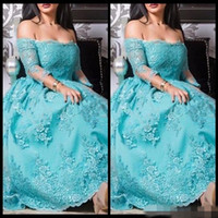 Cheap Aqua Blue Off Shoulder Lace Applique Party Prom Dresses Long Sleeve 2017 Vestido De Festa Curto Formal Evening Gowns For Special Occasion