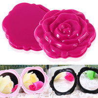 Wholesale Cute Mirror Retro Rose Flower Shape Cosmetic Makeup Compact Mirror D Stereo Double Sided