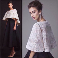 Wholesale Champagne Half Jackets - Black White Krikor Jabotian Evening Dresses Two Pieces Ankle Length Half Sleeves Prom Dresses With Jacket Formal Dresses Real Image