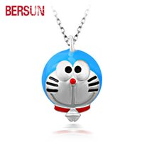 Wholesale women jewelry Cartoon Doraemon Viking pendant silver plated pendant necklace creative Doraemon charm child jewelry