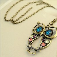 big eyed necklace - June Fairy Store Fashion Lady Crystal Big Blue Eyed Owl Long Chain Pendant Sweater Coat Necklace