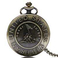 antique history - Remember The History quot United States Veteran quot Bronze Pocket Watch Men Chain With Necklace Gift P978