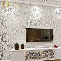 Wholesale European style non woven wallpaper classic wall paper roll purple grey wallcovering luxury wallpaper floral papel de parede V1