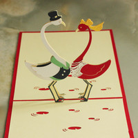anniversary wishes couple - piece Wedding Event Party Supplies D Pop Up Cute Crane Couple Greeting Card Love Bird Gift Card