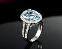 Livraison gratuite Sol 14K en or blanc véritable diamant Aquamarine Sparkly naturelle diamant très agréable (R0130)