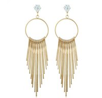 Wholesale Bohemian Zircon Exaggerated Allergy Free Female Europe And The United States Long Tassel Earrings Fashion Metal Stud Earrings Earrings Whole