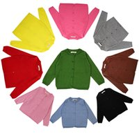 Wholesale Children Clothing Boys Girls Cardigan Kids Clothes Solid Color Long Sleeve Fall Outwear Sweater Button Children Clothing AA18