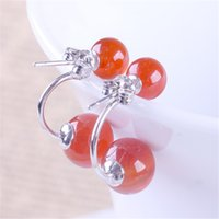 achat en gros de high end fashion jewelry red-L'agate rouge bijoux boucles d'oreille en argent populaire fashion lady haut de gamme commerce extérieur fabricants grossistes enfants usure quotidienne boucles d'oreille