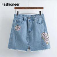 Denim Floral 36 Fashioneer Women High Waist Denim Skirt Floral Embroidery Pocket Hip A Line Jean Short Skirts Femme Large Size New Spring Summer Skirts