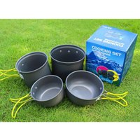anodized pans - Outdoor Portable Lightweight Anodized Nonstick Camping Pots Cookware Set Pot Pan Bowl for Camping Hiking