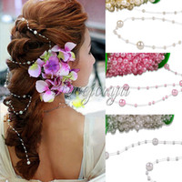 Wholesale Meters Fishing Line Artificial ABS Pearl Beads Chain Garland Wedding Party Decor Cloth Hair Accessories Ivory Pink White