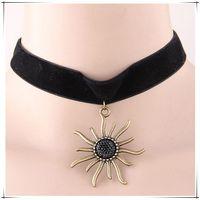 asos free - ASOS same paragraph Gothic Punk Grunge stly Sunflower jewel Necklace The Professional Black Velvet Ribbon Chokers