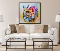al por mayor pintura cebras-Hermoso moderno a gran escala pintado a mano a medida pintura al óleo decoración del hogar del arte abstracto en la lona animales la cebra Unframed