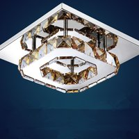 LED amber ceiling light - Modern Luxury LED Ceiling light Square Transparent Amber Crystal Lustre led lamps for home aisle corridor balcony fixtures