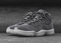 Wholesale Cool Shoes For Sale - 2016 New Retro 11 XI PRM Grey Suede 11s men Basketball Shoes Cool Grey White Trainers Athletics Cheap Sneakers For Sale