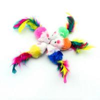 animal sounds cat - Pet supplies Cat Toy Plush mouse color feather multi color Puppy Cat fashionable sounding toy