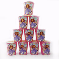 Wholesale Sofia Princess Paperboard Cup Cartoon Birthday Decoration Theme Party Supply Xmas Festival For Kids Girls Boys Yellow