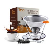 Wholesale TECHO DIY Pour Over Reusable Coffee Filters Cups Stainless Steel Cone Dripper with Stand Spoon Brush